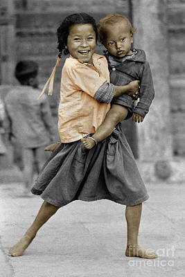 Nepali Girl And Baby Brother - Kathmandu Poster by Craig Lovell