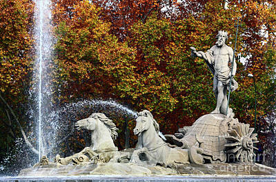 Neptune Fountain Paseo Del Prado Madrid Poster by James Brunker