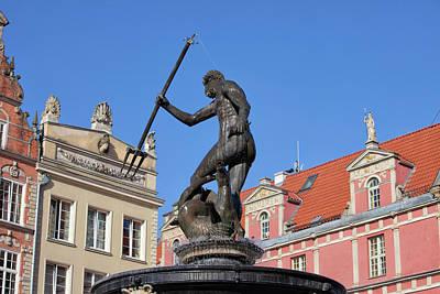 Neptune God Of The Sea Fountain In Gdansk Poster by Artur Bogacki