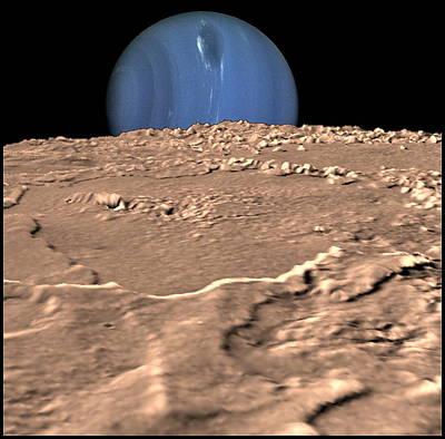 Neptune On Triton's Horizon Poster by Nasa