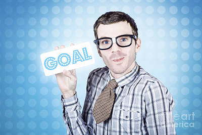 Nerd Businessman Holding Goal Sign Board  Poster