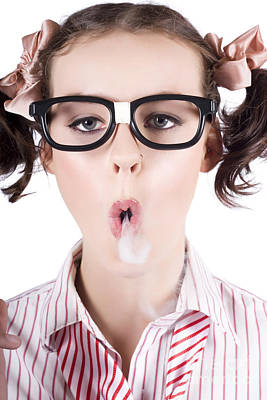Nerd Girl Blowing Smoke Rings From Cigarette Poster