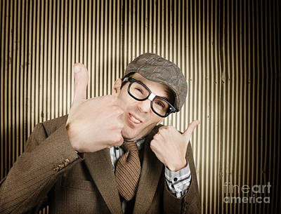 Nerd With Big Thumbs Up Poster