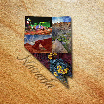 Nevada State Map Collage Poster