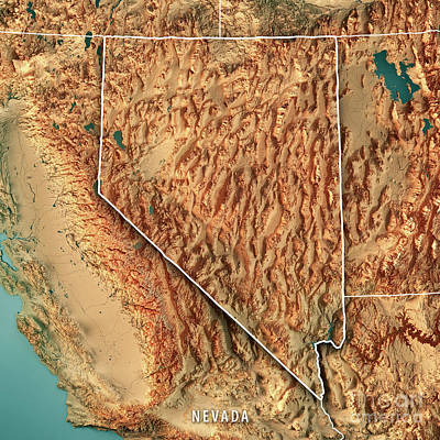 Nevada State Usa 3d Render Topographic Map Border Poster