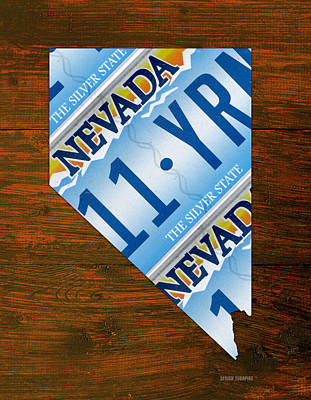 Nevada The Silver State Recycled License Plate Map Art Poster