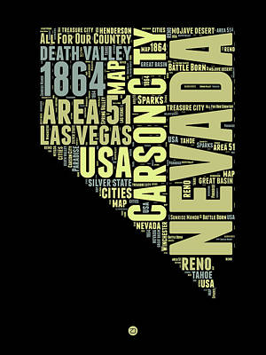 Nevada Word Cloud 1 Poster by Naxart Studio