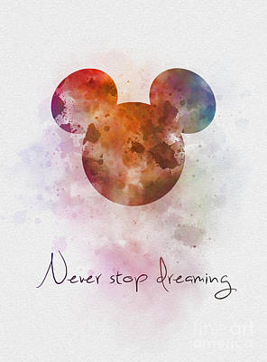 Never Stop Dreaming Poster by Rebecca Jenkins