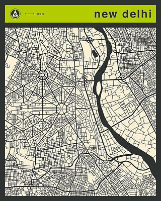 New Delhi Street Map Poster by Jazzberry Blue
