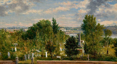 New England Landscape With Cemetery Poster by George Loring Brown