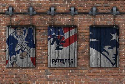 New England Patriots Brick Wall Poster by Joe Hamilton