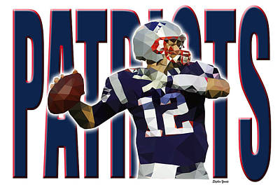 Poster featuring the digital art New England Patriots by Stephen Younts