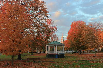 New England Town Common Autumn Morning Poster by John Burk
