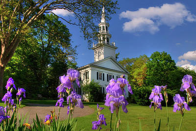 New England White Church In Spring Poster