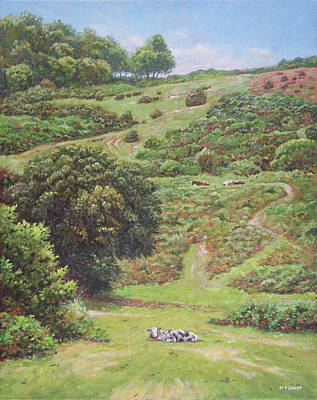 Poster featuring the painting New Forest Hill With Cows And Horses by Martin Davey