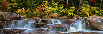 New Hampshire White Mountains Swift River Waterfall In Autumn With Fall Foliage Poster
