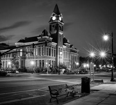 New Hanover County At Night In Black And White Poster