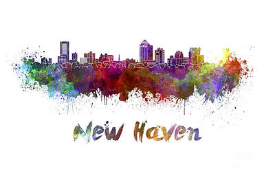 New Haven Skyline In Watercolor Poster