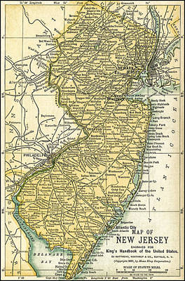 New Jersey Antique Map 1891 Poster