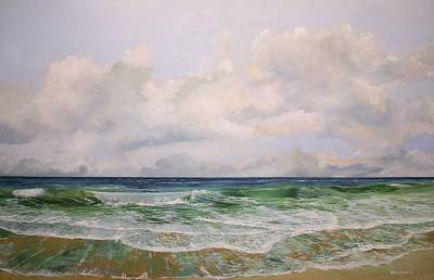 Poster featuring the painting New Jersey Surf by Ken Ahlering