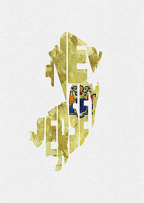 New Jersey Typographic Map Flag Poster