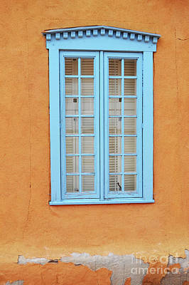 Poster featuring the photograph New Mexico Blue Window by Andrea Hazel Ihlefeld