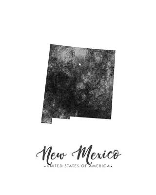 New Mexico State Map Art - Grunge Silhouette Poster