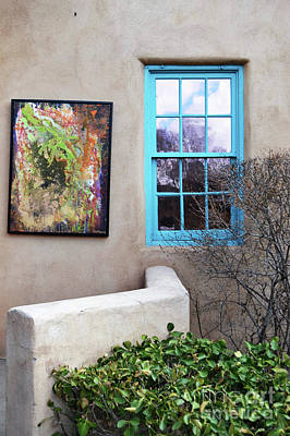 Poster featuring the photograph New Mexico Turquoise Window Landscape by Andrea Hazel Ihlefeld