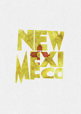 New Mexico Typographic Map Flag Poster