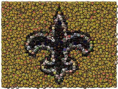New Orleans Saints  Bottle Cap Mosaic Poster by Paul Van Scott