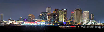 New Orleans Skyline At Night Pano Poster by Tod and Cynthia Grubbs