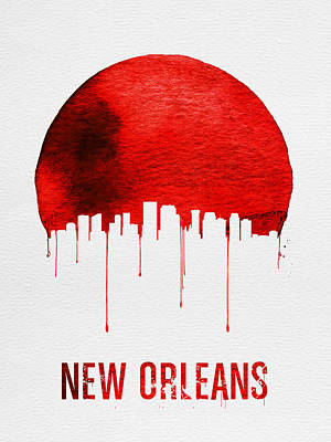 New Orleans Skyline Red Poster by Naxart Studio