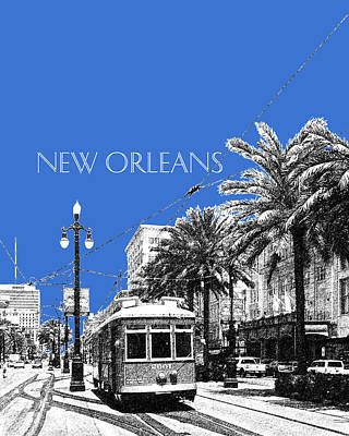 New Orleans Skyline Street Car - Blue Poster