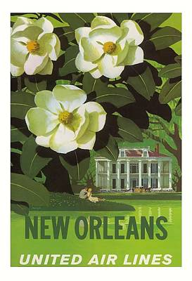 New Orleans United Air Lines Vintage Airline Travel Poster Poster by Retro Graphics