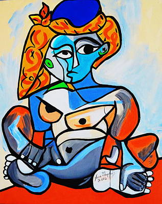New  Picasso By Nora  Nude Woman With Turkish Bonnet Poster