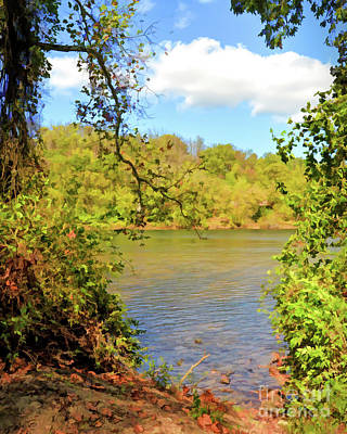 Poster featuring the photograph New River Views - Bisset Park - Radford Virginia by Kerri Farley