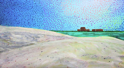Poster featuring the painting New Smyrna Beach As Seen From A Dune On Ponce Inlet by Deborah Boyd
