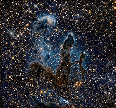 New View Of The Pillars Of Creation - Infrared Poster by Nasa