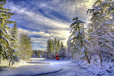 New Year Snow At The Red Boathouse Poster by David Patterson
