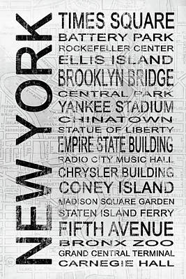 New York 1 White Subway Poster by Melissa Smith