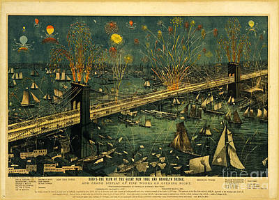 New York And Brooklyn Bridge Opening Night Fireworks Poster by John Stephens
