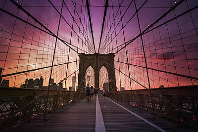 New York City - Brooklyn Bridge Sunset Poster by Vivienne Gucwa