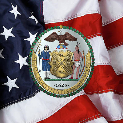 New York City Coat Of Arms - City Of New York Seal Over American Flag  Poster