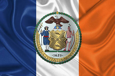 New York City Coat Of Arms - City Of New York Seal Over N Y C Flag Poster