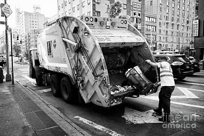 New York City Depart Of Sanitation Working Emptying Street Waste Bin Into Refuse Garbage Truck Usa Poster