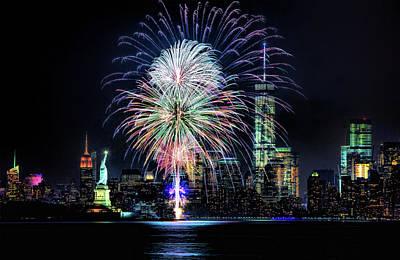 New York City Harbor Fireworks Poster