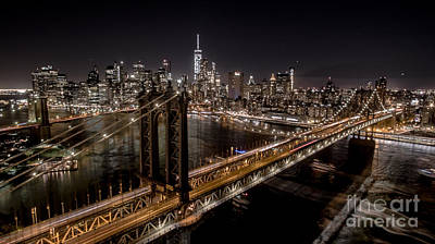 Poster featuring the photograph New York City, Manhattan Bridge At Night by Petr Hejl