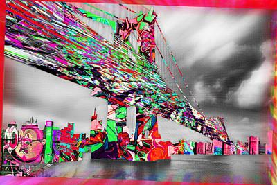 New York City Manhattan Bridge Pure Pop Red Poster by Tony Rubino