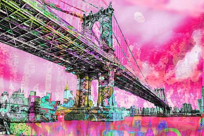 New York City Manhattan Bridge Red Poster by Tony Rubino