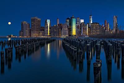 New York City Moonset Poster